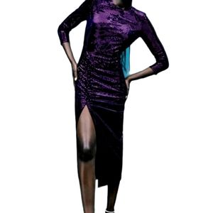 Zara Sequin Purple Midi Dress with hem slit